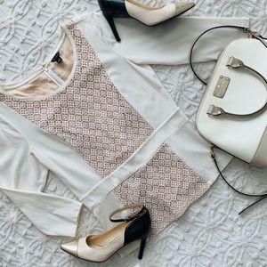 Ann Taylor White Lace 3/4 Sleeve Top Zipper Back